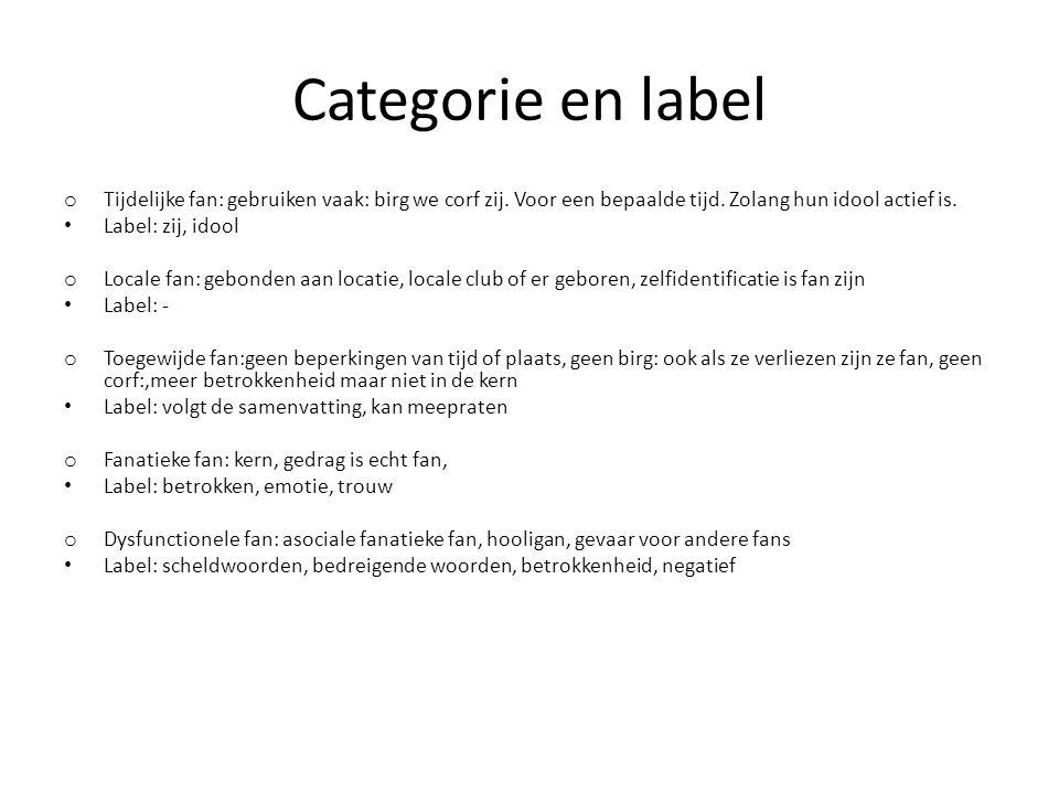 Categorie en label o Tijdelijke fan: gebruiken vaak: birg we corf zij.