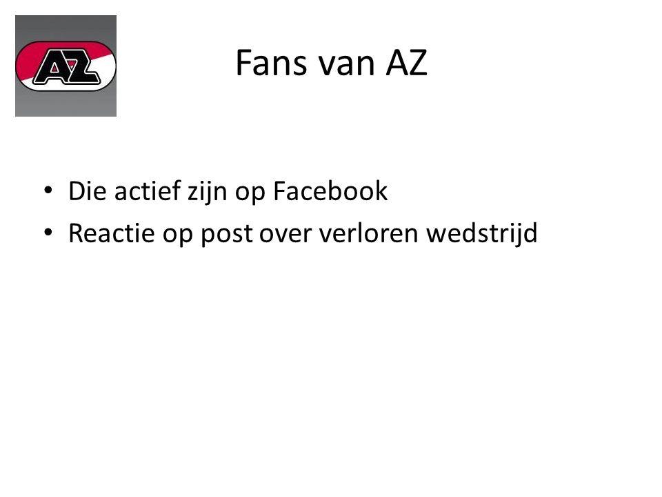 Fans van AZ Die actief zijn op Facebook Reactie op post over verloren wedstrijd