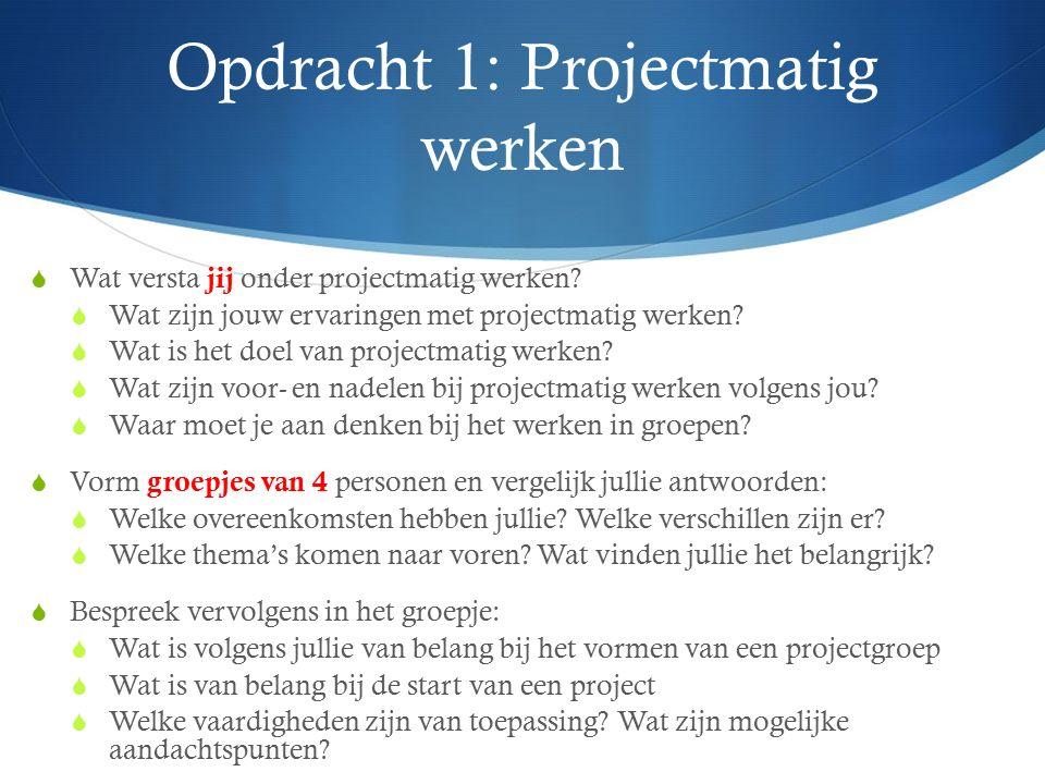 Opdracht 1: Projectmatig werken  Wat versta jij onder projectmatig werken?  Wat zijn jouw ervaringen met projectmatig werken?  Wat is het doel van