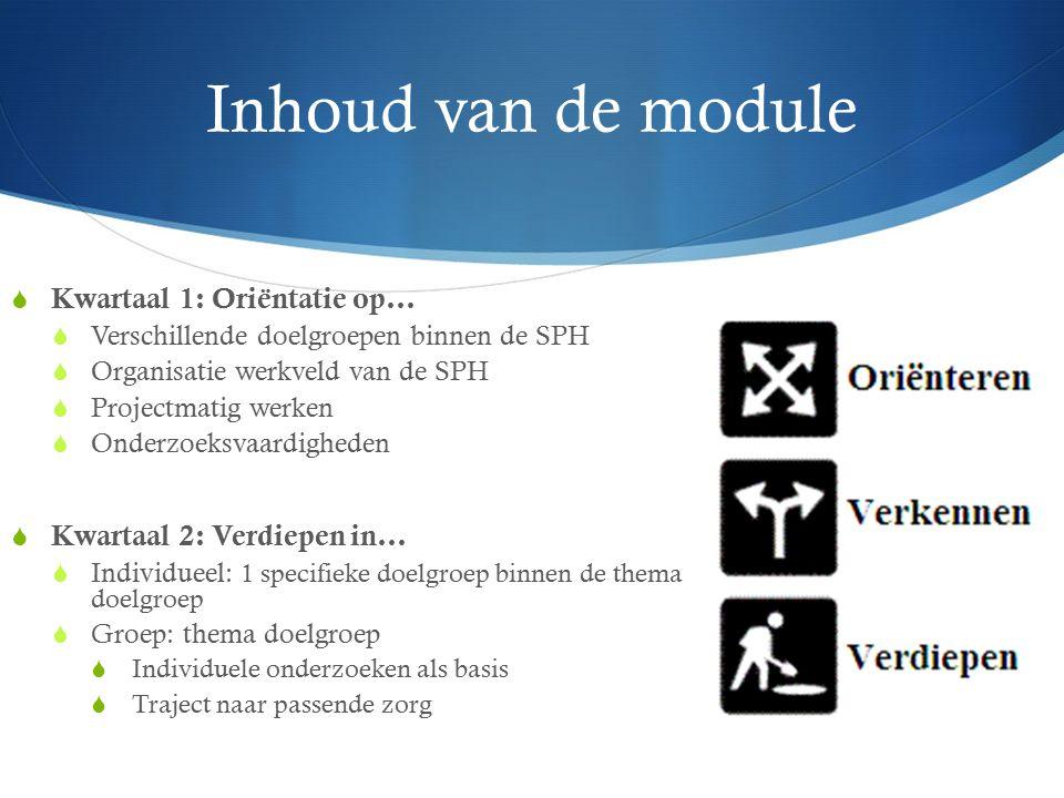 Inhoud van de module  Kwartaal 1: Oriëntatie op…  Verschillende doelgroepen binnen de SPH  Organisatie werkveld van de SPH  Projectmatig werken 