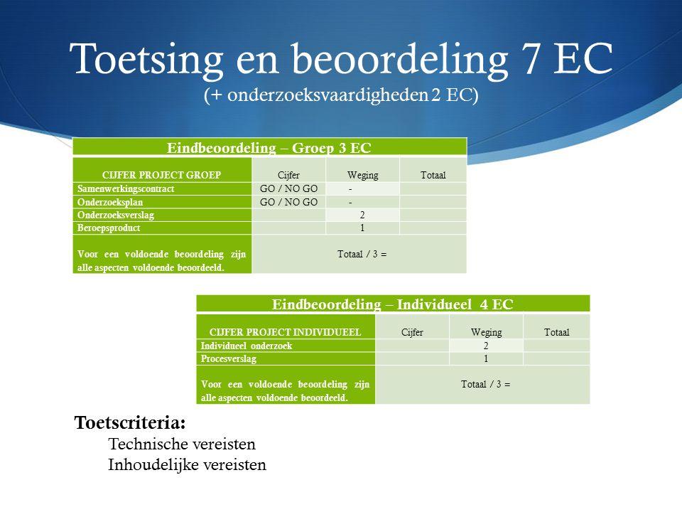Toetsing en beoordeling 7 EC (+ onderzoeksvaardigheden 2 EC) Eindbeoordeling – Groep 3 EC CIJFER PROJECT GROEP Cijfer Weging Totaal Samenwerkingscontract GO / NO GO - Onderzoeksplan GO / NO GO - Onderzoeksverslag 2 Beroepsproduct 1 Voor een voldoende beoordeling zijn alle aspecten voldoende beoordeeld.