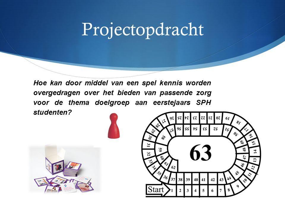 Projectopdracht Hoe kan door middel van een spel kennis worden overgedragen over het bieden van passende zorg voor de thema doelgroep aan eerstejaars SPH studenten