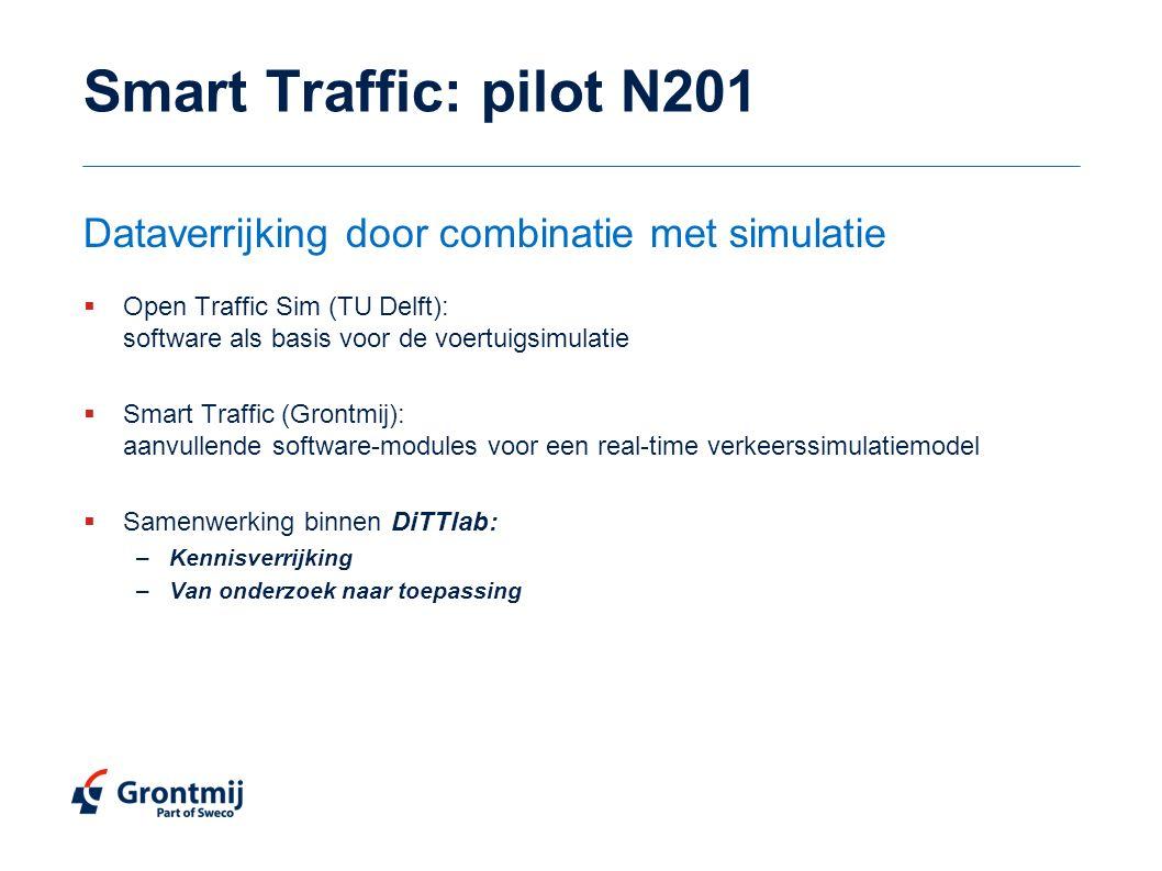 Smart Traffic: pilot N201  Open Traffic Sim (TU Delft): software als basis voor de voertuigsimulatie  Smart Traffic (Grontmij): aanvullende software