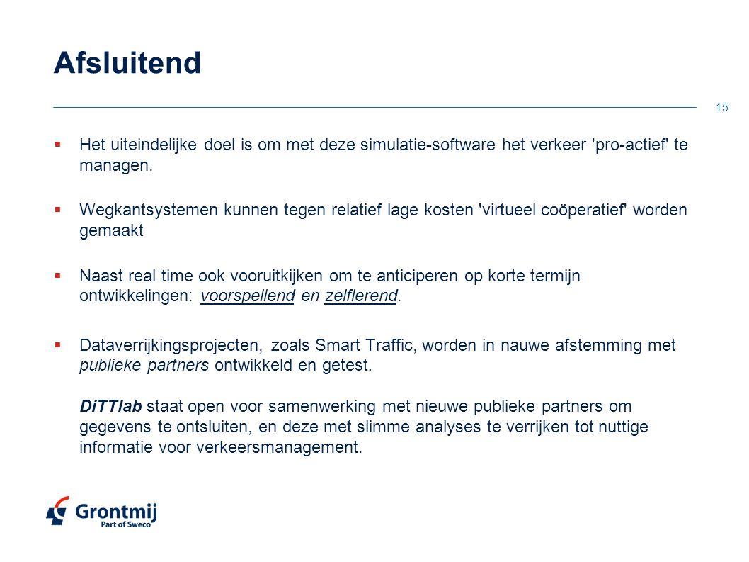 Afsluitend  Het uiteindelijke doel is om met deze simulatie-software het verkeer 'pro-actief' te managen.  Wegkantsystemen kunnen tegen relatief lag