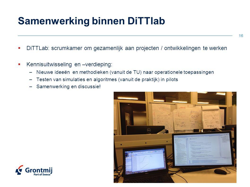 Samenwerking binnen DiTTlab  DiTTLab: scrumkamer om gezamenlijk aan projecten / ontwikkelingen te werken  Kennisuitwisseling en –verdieping: –Nieuwe