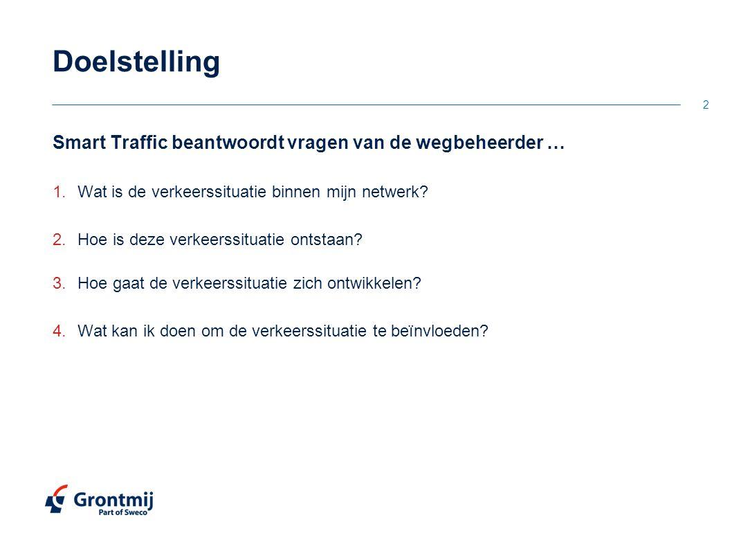 2 Doelstelling Smart Traffic beantwoordt vragen van de wegbeheerder … 1.Wat is de verkeerssituatie binnen mijn netwerk? 2.Hoe is deze verkeerssituatie