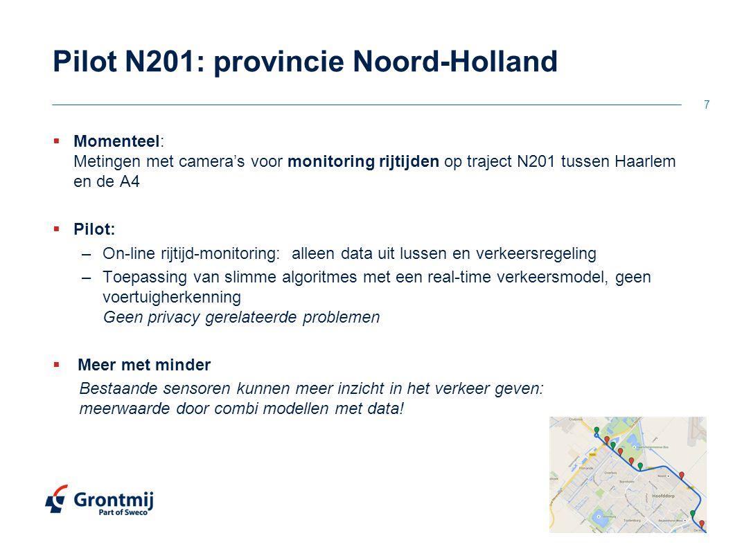 Pilot N201: provincie Noord-Holland  Momenteel: Metingen met camera's voor monitoring rijtijden op traject N201 tussen Haarlem en de A4  Pilot: –On-
