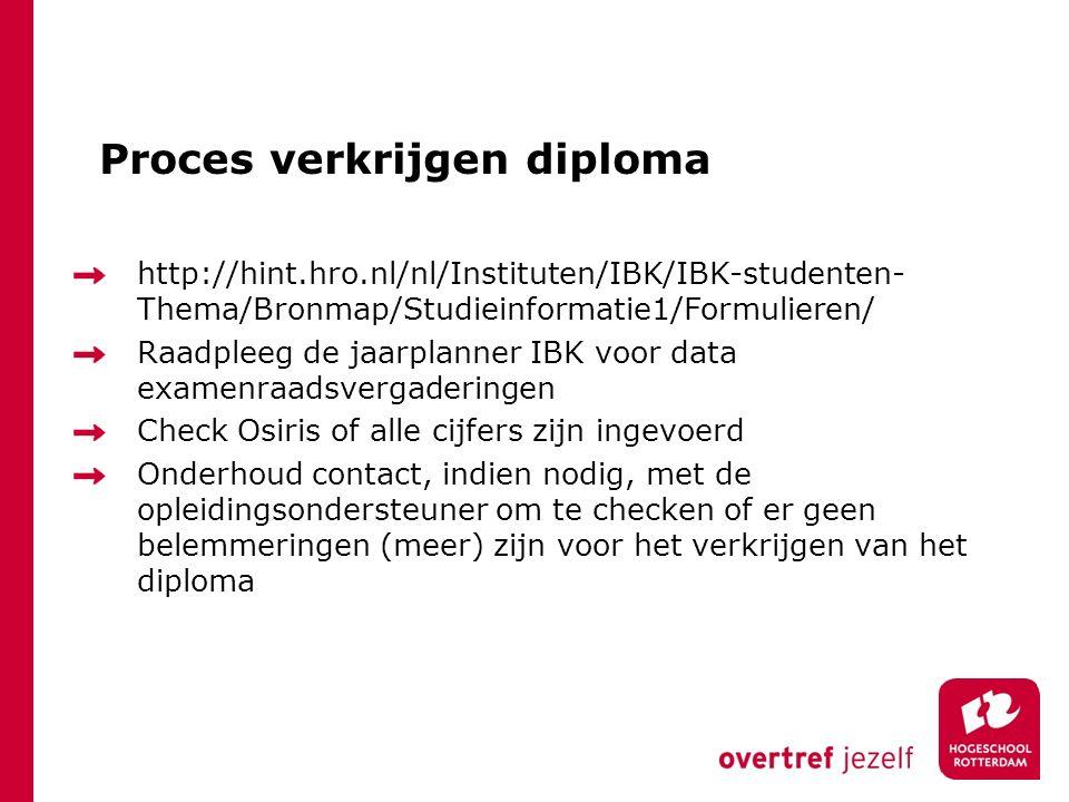 Proces verkrijgen diploma http://hint.hro.nl/nl/Instituten/IBK/IBK-studenten- Thema/Bronmap/Studieinformatie1/Formulieren/ Raadpleeg de jaarplanner IBK voor data examenraadsvergaderingen Check Osiris of alle cijfers zijn ingevoerd Onderhoud contact, indien nodig, met de opleidingsondersteuner om te checken of er geen belemmeringen (meer) zijn voor het verkrijgen van het diploma