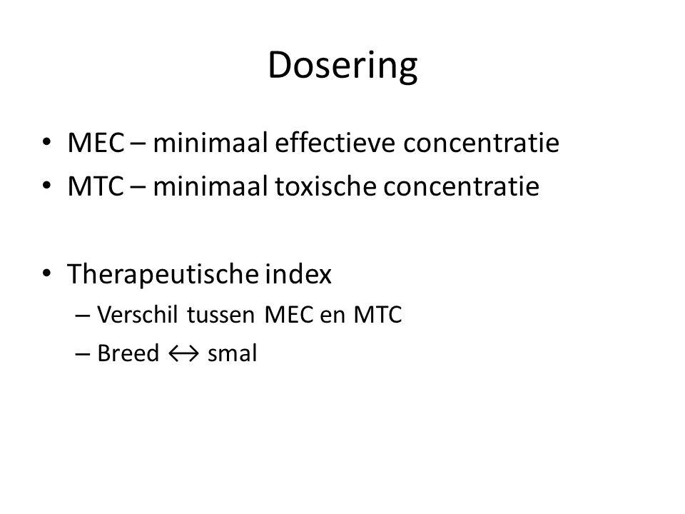 Dosering MEC – minimaal effectieve concentratie MTC – minimaal toxische concentratie Therapeutische index – Verschil tussen MEC en MTC – Breed ↔ smal