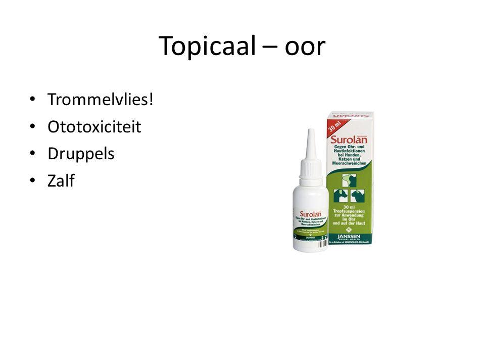 Topicaal – oor Trommelvlies! Ototoxiciteit Druppels Zalf