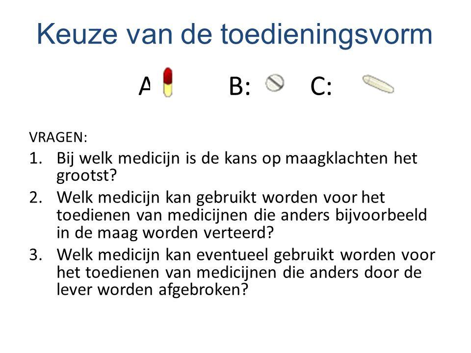 A: B: C: VRAGEN: 1.Bij welk medicijn is de kans op maagklachten het grootst? 2.Welk medicijn kan gebruikt worden voor het toedienen van medicijnen die