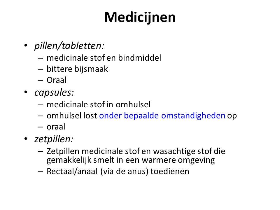 Medicijnen pillen/tabletten: – medicinale stof en bindmiddel – bittere bijsmaak – Oraal capsules: – medicinale stof in omhulsel – omhulsel lost onder
