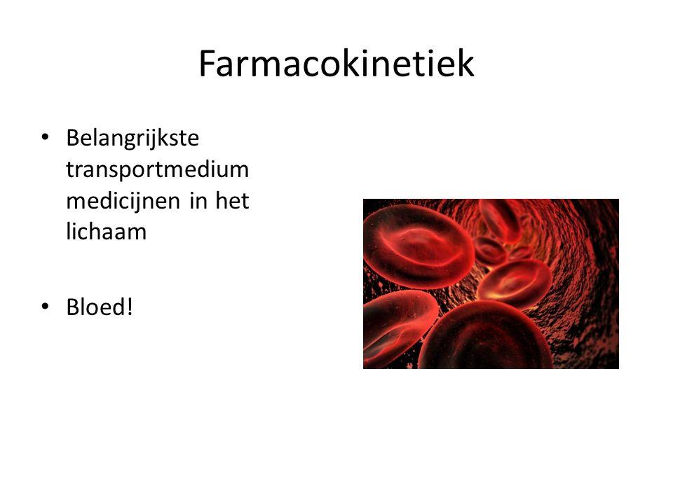 Farmacokinetiek Belangrijkste transportmedium medicijnen in het lichaam Bloed!
