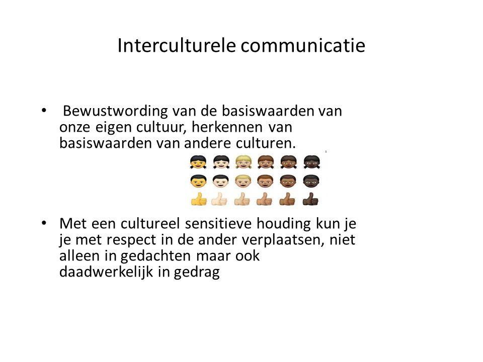 Interculturele communicatie Bewustwording van de basiswaarden van onze eigen cultuur, herkennen van basiswaarden van andere culturen. Met een culturee