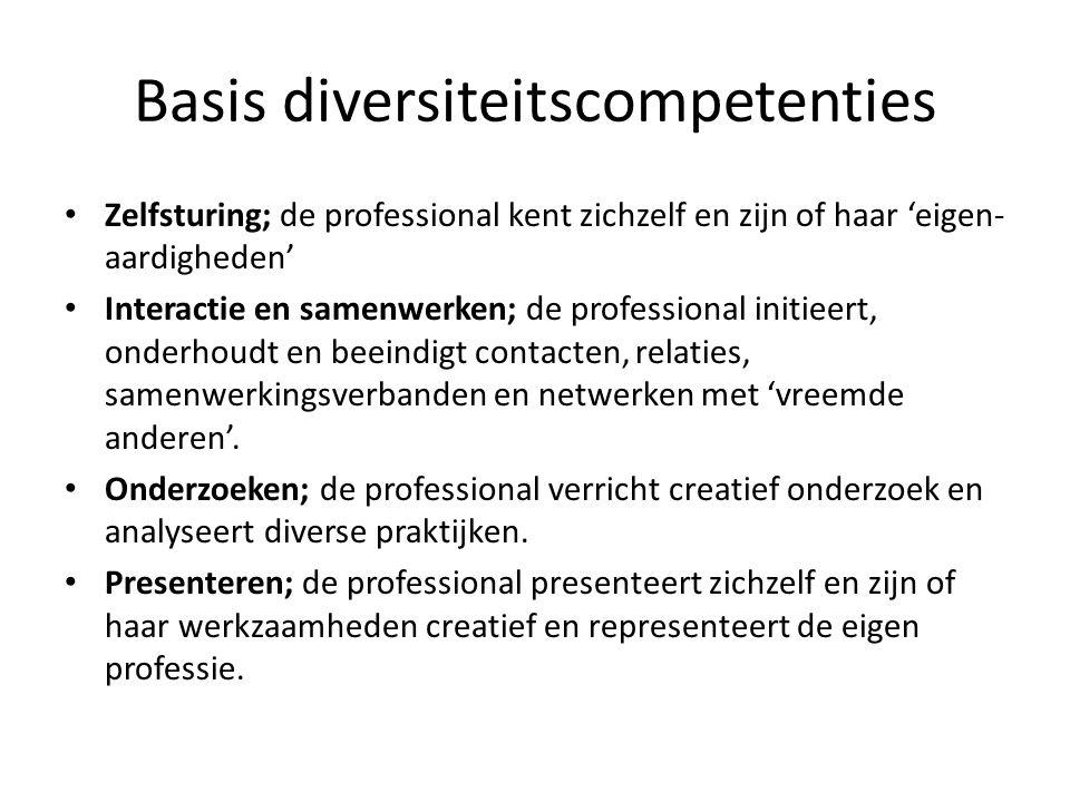 Basis diversiteitscompetenties Zelfsturing; de professional kent zichzelf en zijn of haar 'eigen- aardigheden' Interactie en samenwerken; de professio