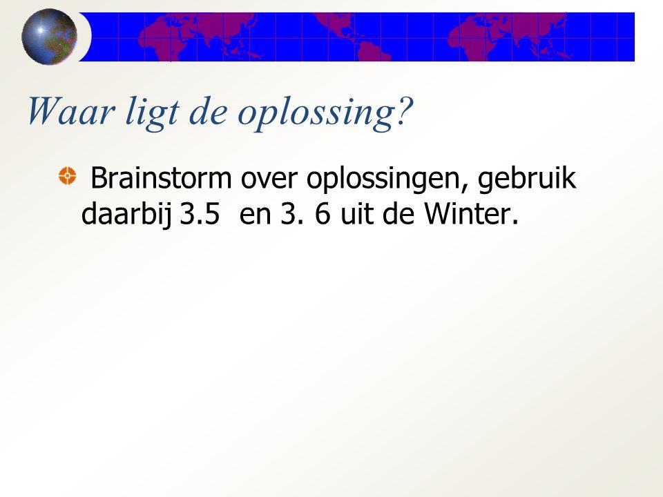 Waar ligt de oplossing? Brainstorm over oplossingen, gebruik daarbij 3.5 en 3. 6 uit de Winter.