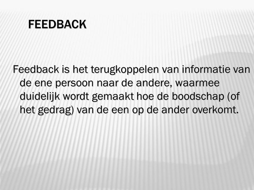 FEEDBACK Feedback is het terugkoppelen van informatie van de ene persoon naar de andere, waarmee duidelijk wordt gemaakt hoe de boodschap (of het gedrag) van de een op de ander overkomt.