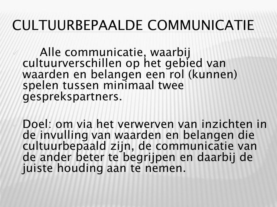 CULTUURBEPAALDE COMMUNICATIE Alle communicatie, waarbij cultuurverschillen op het gebied van waarden en belangen een rol (kunnen) spelen tussen minimaal twee gesprekspartners.
