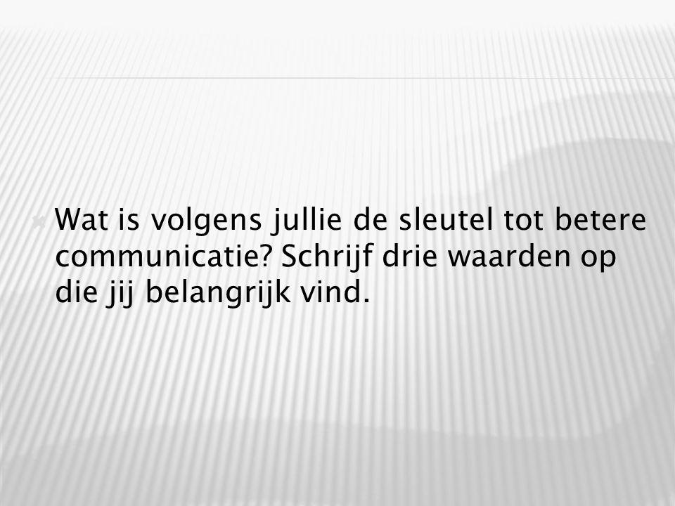  Wat is volgens jullie de sleutel tot betere communicatie.