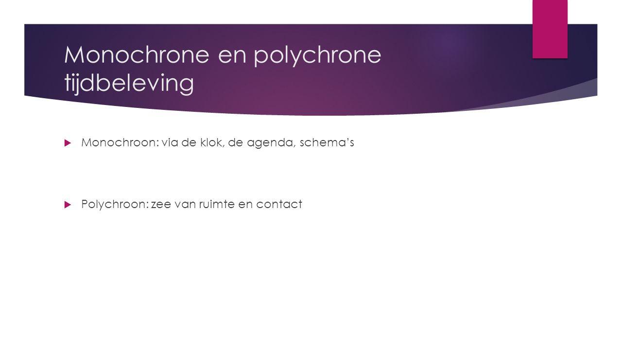 Monochrone en polychrone tijdbeleving  Monochroon: via de klok, de agenda, schema's  Polychroon: zee van ruimte en contact