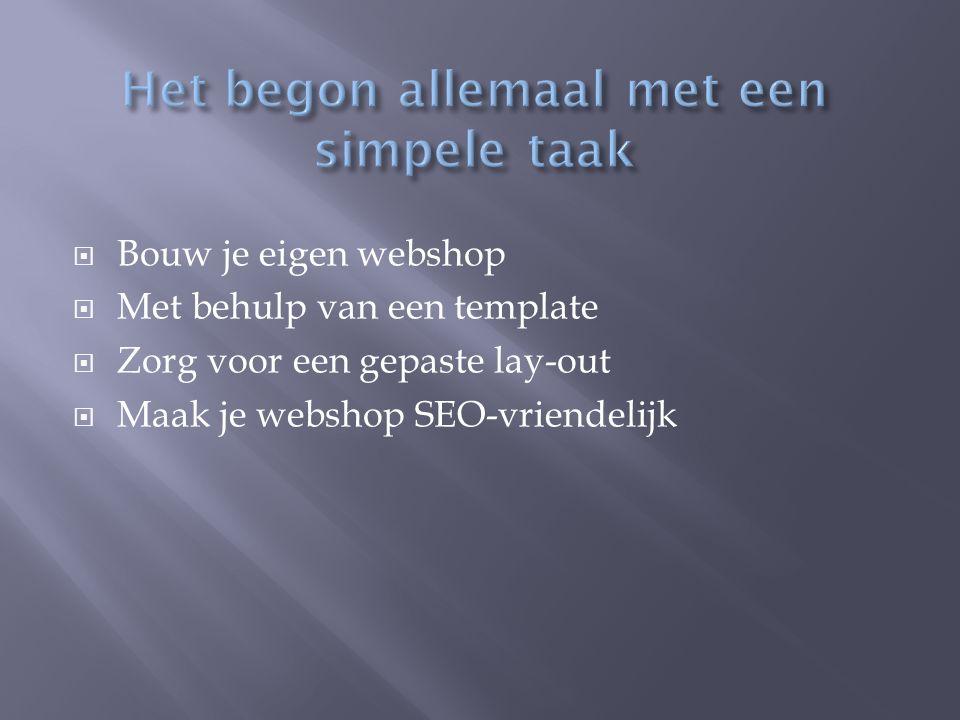  Bouw je eigen webshop  Met behulp van een template  Zorg voor een gepaste lay-out  Maak je webshop SEO-vriendelijk