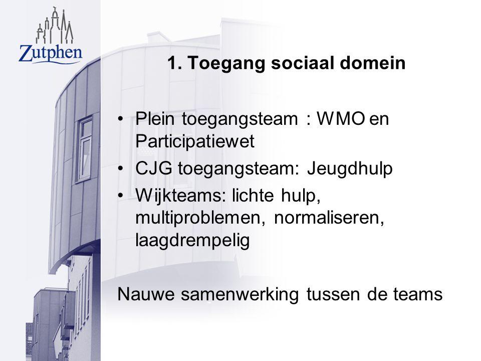 1. Toegang sociaal domein Plein toegangsteam : WMO en Participatiewet CJG toegangsteam: Jeugdhulp Wijkteams: lichte hulp, multiproblemen, normaliseren