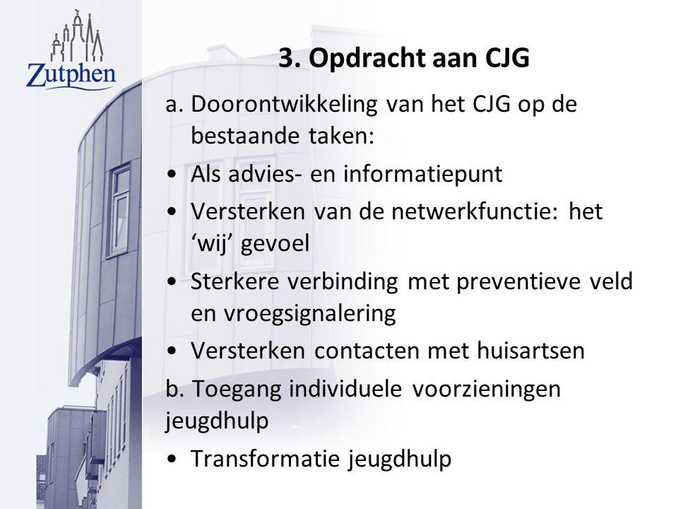 3. Opdracht aan CJG a. Doorontwikkeling van het CJG op de bestaande taken: Als advies- en informatiepunt Versterken van de netwerkfunctie: het 'wij' g