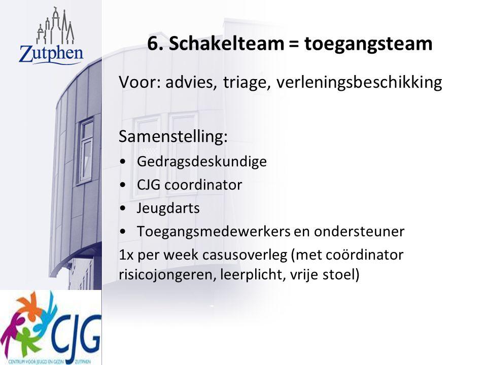 6. Schakelteam = toegangsteam Voor: advies, triage, verleningsbeschikking Samenstelling: Gedragsdeskundige CJG coordinator Jeugdarts Toegangsmedewerke