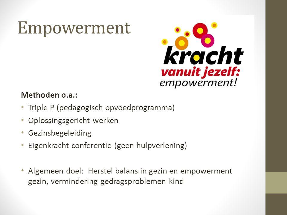 Empowerment Methoden o.a.: Triple P (pedagogisch opvoedprogramma) Oplossingsgericht werken Gezinsbegeleiding Eigenkracht conferentie (geen hulpverleni