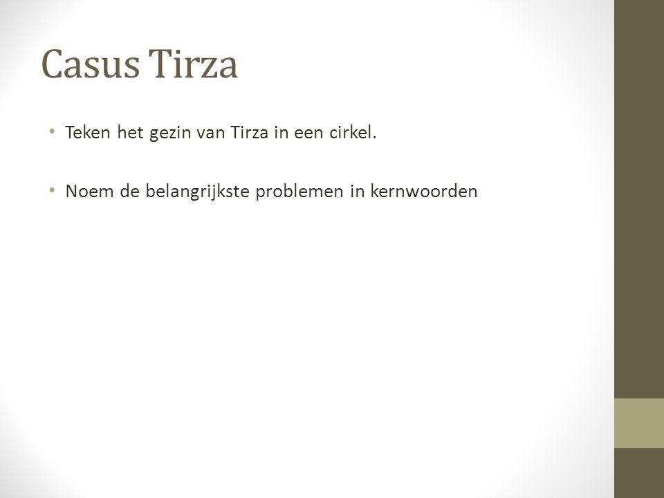 Casus Tirza Teken het gezin van Tirza in een cirkel. Noem de belangrijkste problemen in kernwoorden