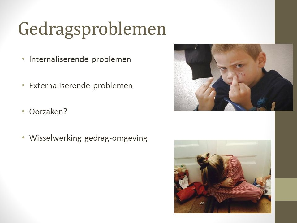 Gedragsproblemen Internaliserende problemen Externaliserende problemen Oorzaken? Wisselwerking gedrag-omgeving