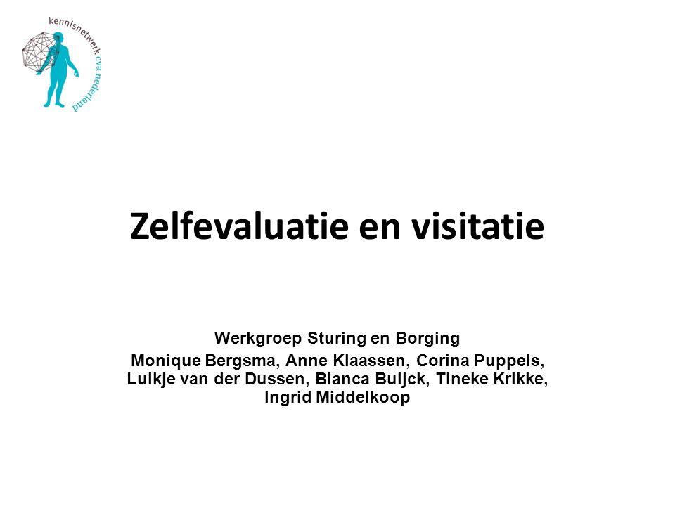 Zelfevaluatie en visitatie Werkgroep Sturing en Borging Monique Bergsma, Anne Klaassen, Corina Puppels, Luikje van der Dussen, Bianca Buijck, Tineke K