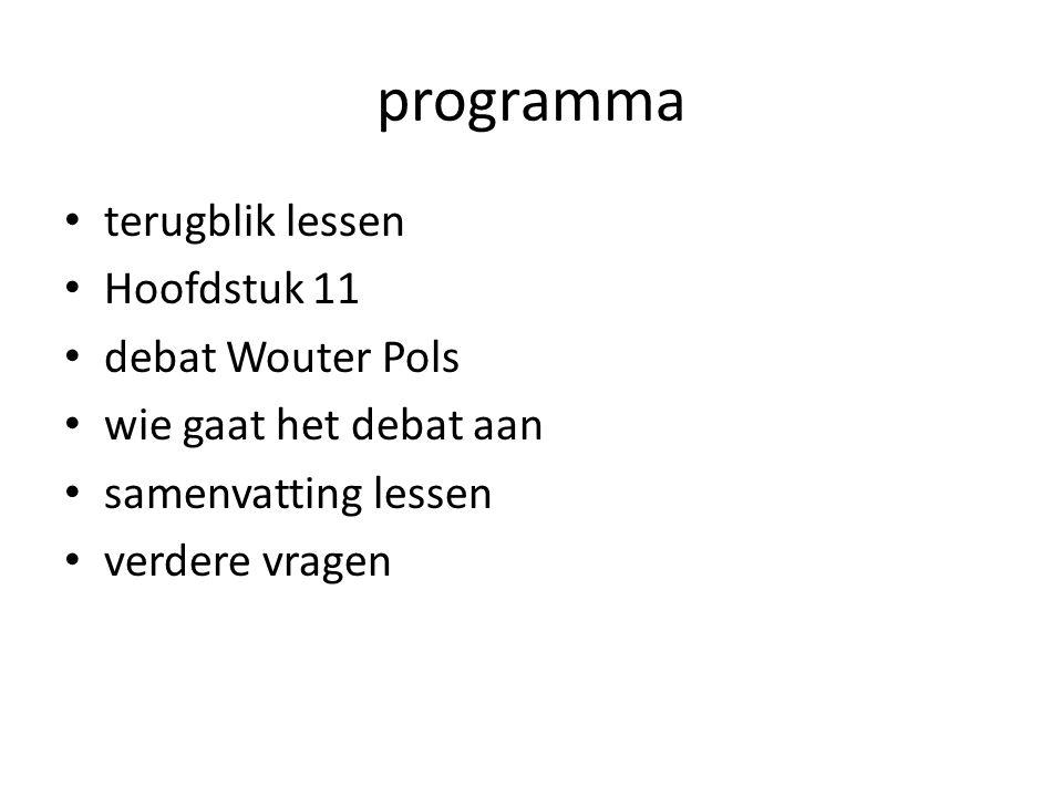 programma terugblik lessen Hoofdstuk 11 debat Wouter Pols wie gaat het debat aan samenvatting lessen verdere vragen