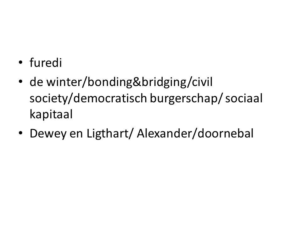 furedi de winter/bonding&bridging/civil society/democratisch burgerschap/ sociaal kapitaal Dewey en Ligthart/ Alexander/doornebal