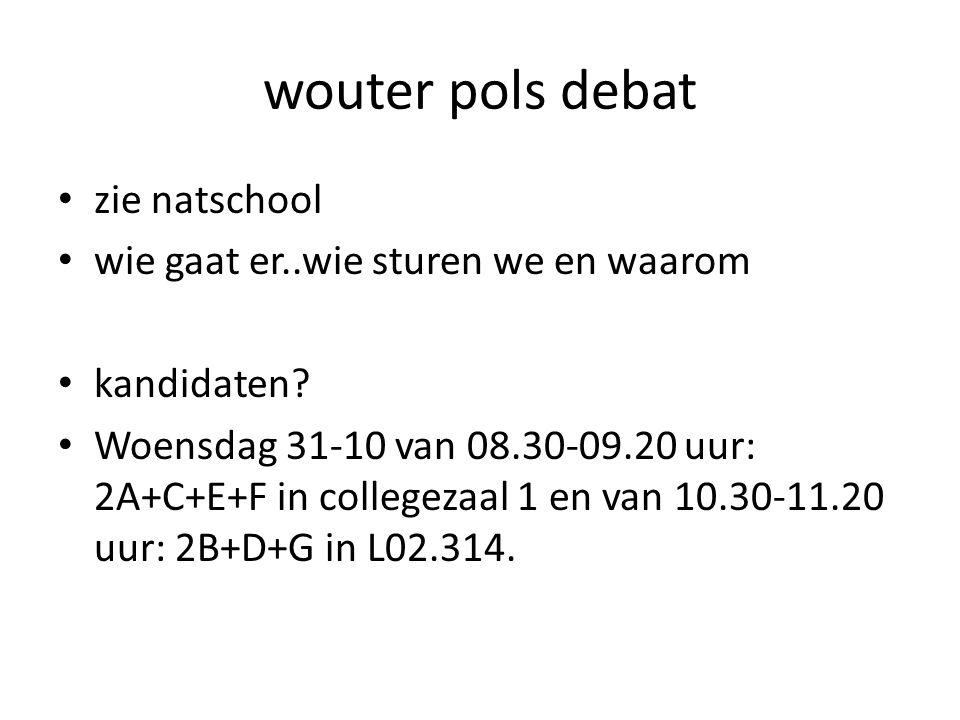 wouter pols debat zie natschool wie gaat er..wie sturen we en waarom kandidaten? Woensdag 31-10 van 08.30-09.20 uur: 2A+C+E+F in collegezaal 1 en van