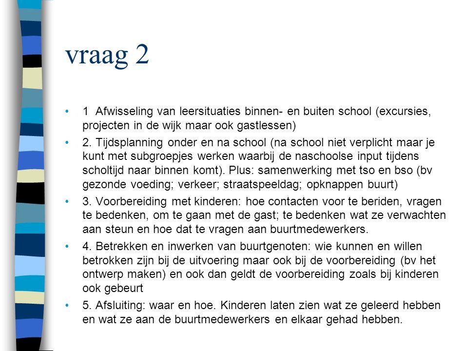 vraag 2 1 Afwisseling van leersituaties binnen- en buiten school (excursies, projecten in de wijk maar ook gastlessen) 2.
