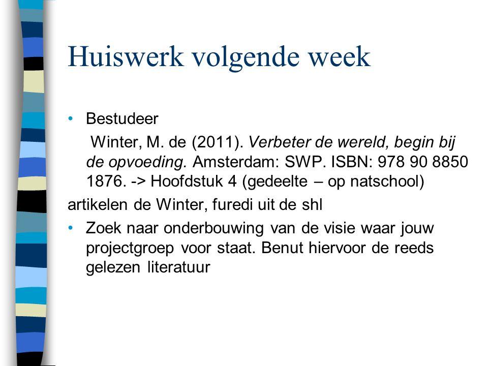 Huiswerk volgende week Bestudeer Winter, M.de (2011).