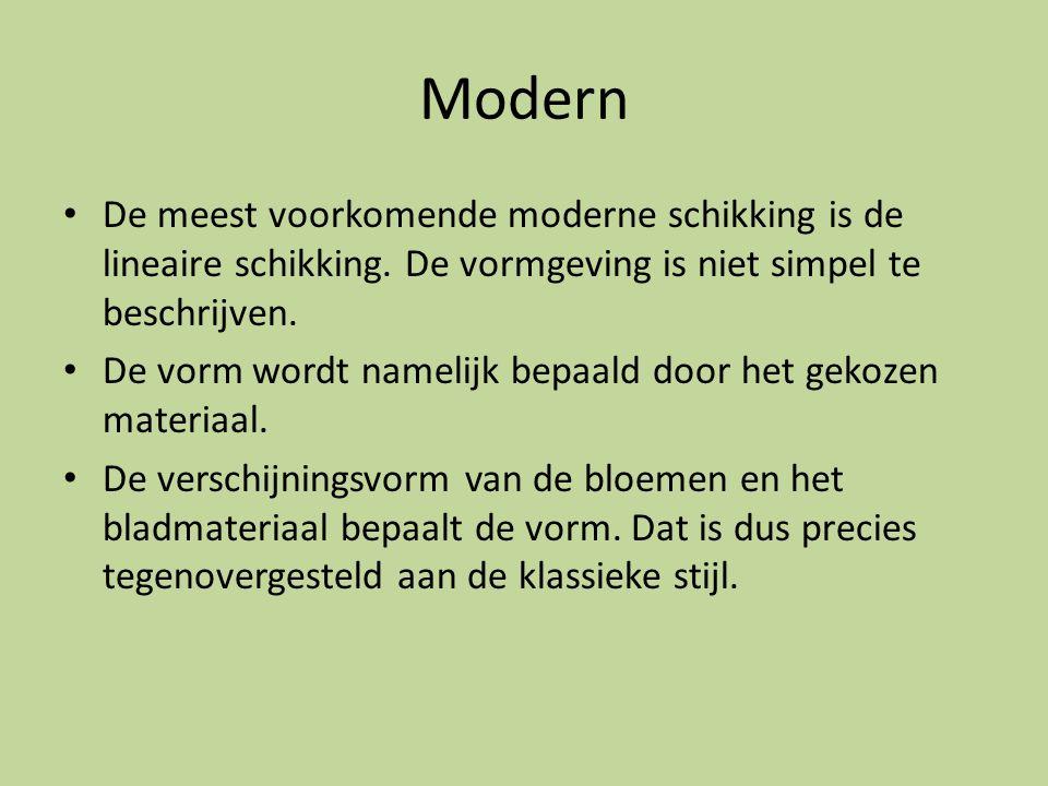 Modern De meest voorkomende moderne schikking is de lineaire schikking. De vormgeving is niet simpel te beschrijven. De vorm wordt namelijk bepaald do