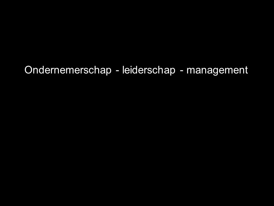 Ondernemerschap - leiderschap - management