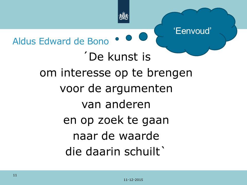 Aldus Edward de Bono ´De kunst is om interesse op te brengen voor de argumenten van anderen en op zoek te gaan naar de waarde die daarin schuilt` 11-12-2015 11 'Eenvoud'