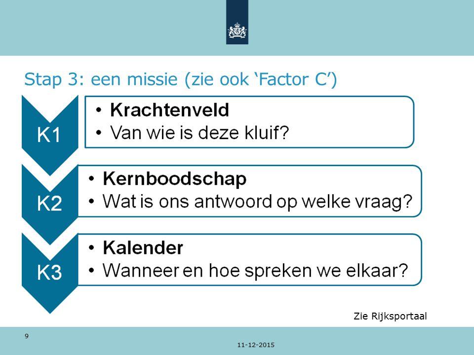 Stap 3: een missie (zie ook 'Factor C') 11-12-2015 9 Zie Rijksportaal