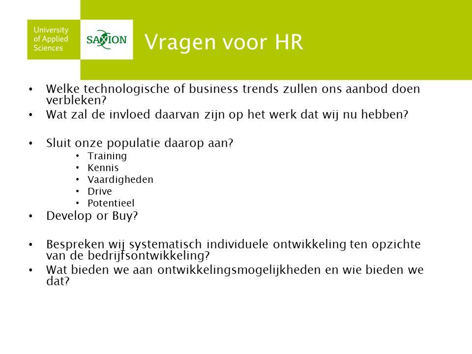 Vragen voor HR Welke technologische of business trends zullen ons aanbod doen verbleken.