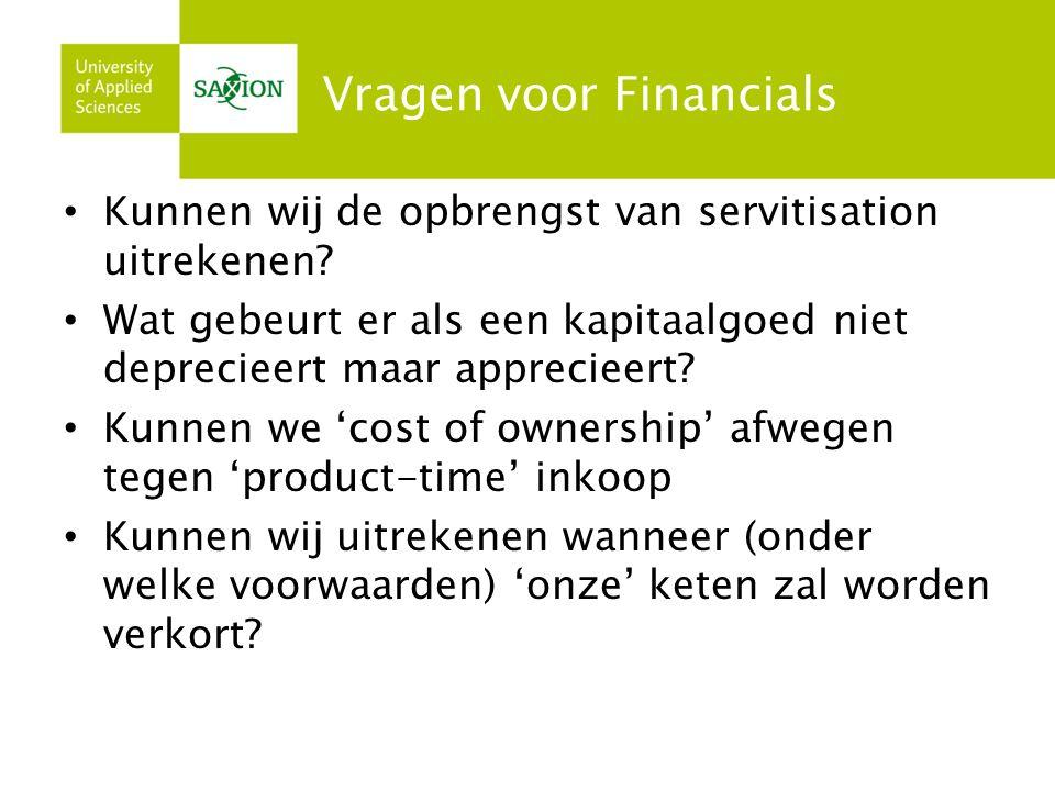 Vragen voor Financials Kunnen wij de opbrengst van servitisation uitrekenen.
