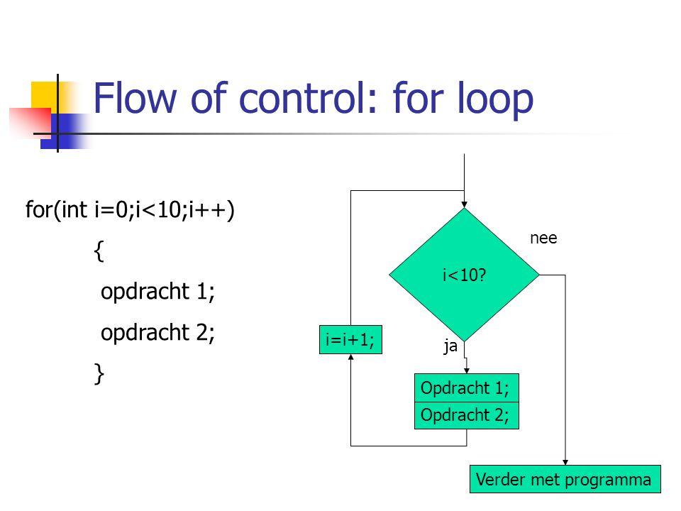 Flow of control: for loop for(int i=0;i<10;i++) { opdracht 1; opdracht 2; } ja nee Opdracht 2; Opdracht 1; Verder met programma i<10? i=i+1;