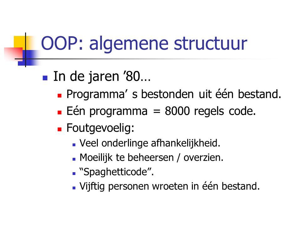 OOP: algemene structuur In de jaren '80… Programma' s bestonden uit één bestand. Eén programma = 8000 regels code. Foutgevoelig: Veel onderlinge afhan
