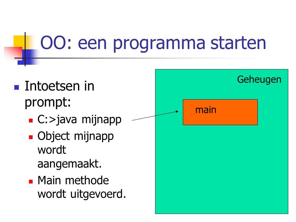 OO: een programma starten Geheugen Intoetsen in prompt: C:>java mijnapp Object mijnapp wordt aangemaakt. Main methode wordt uitgevoerd. main