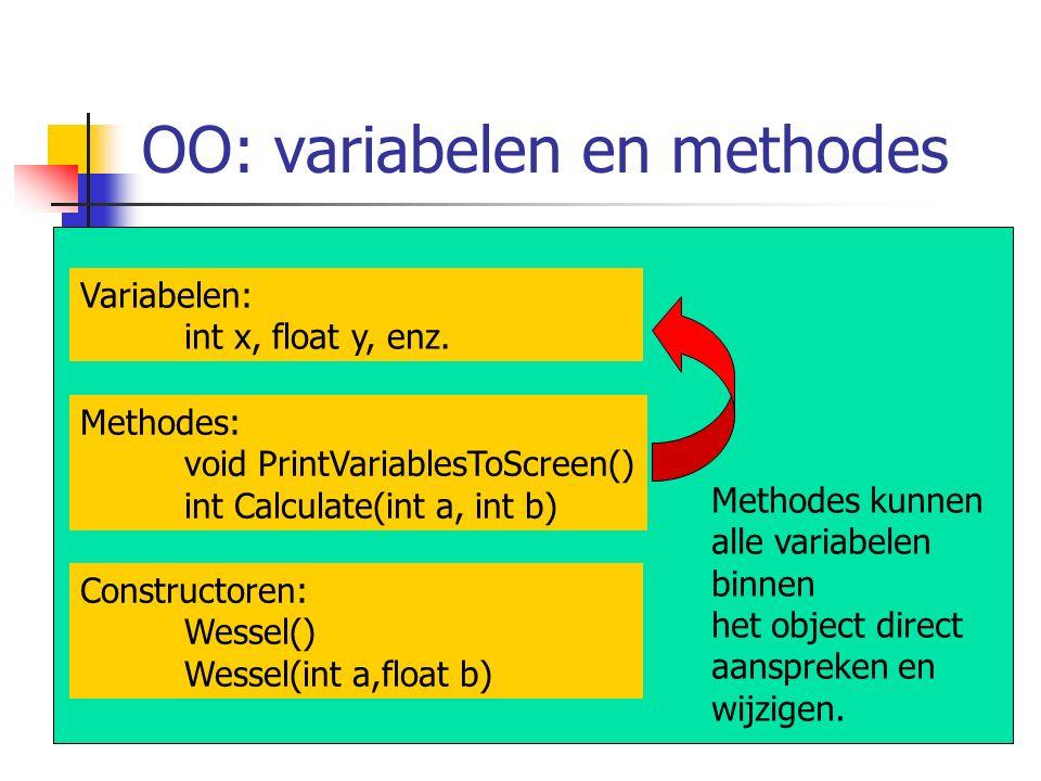 OO: variabelen en methodes Methodes kunnen alle variabelen binnen het object direct aanspreken en wijzigen. Constructoren: Wessel() Wessel(int a,float