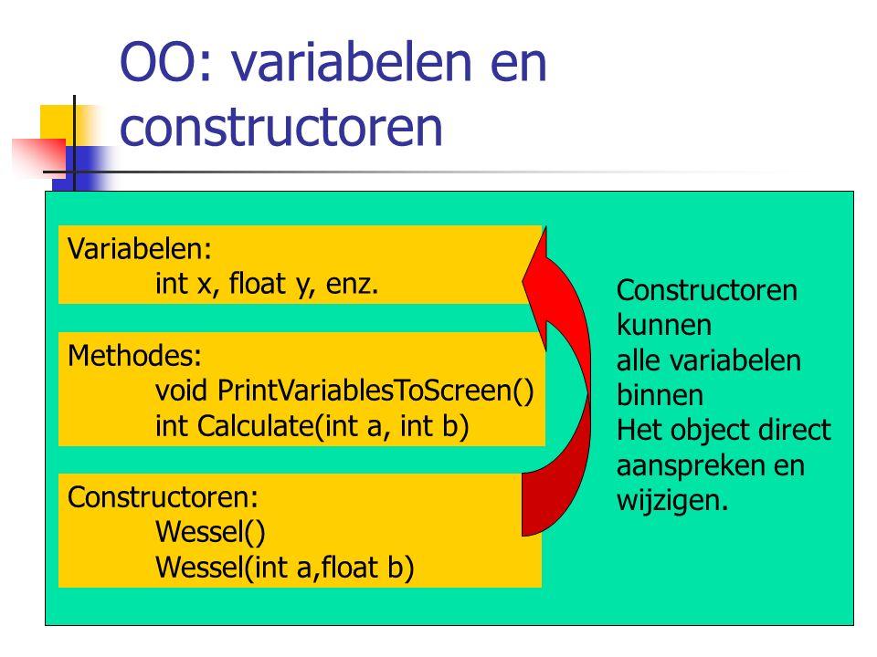 OO: variabelen en constructoren Constructoren kunnen alle variabelen binnen Het object direct aanspreken en wijzigen. Constructoren: Wessel() Wessel(i