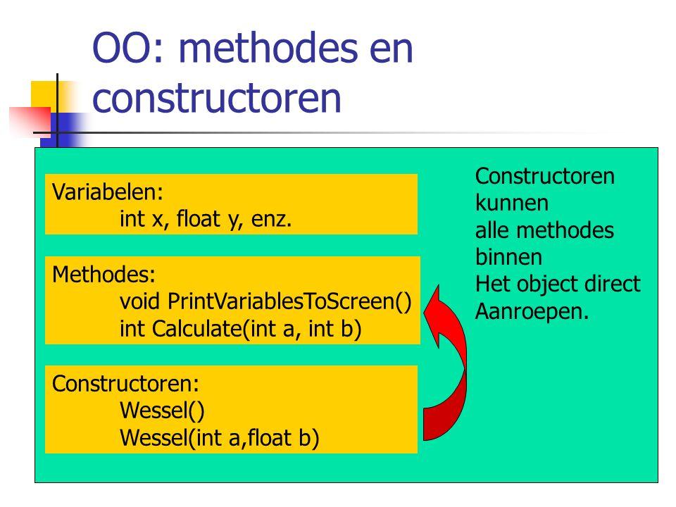 OO: methodes en constructoren Constructoren kunnen alle methodes binnen Het object direct Aanroepen. Constructoren: Wessel() Wessel(int a,float b) Met