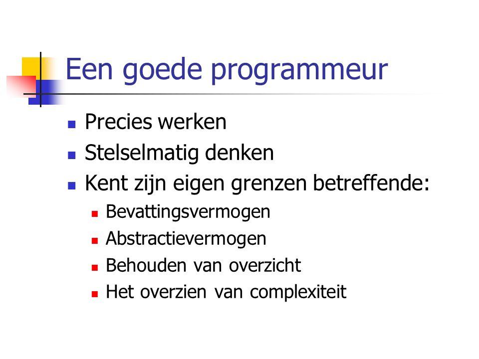 Methodes Op zichzelf staand stukje code dat uitgevoerd kan worden door het aan te roepen.